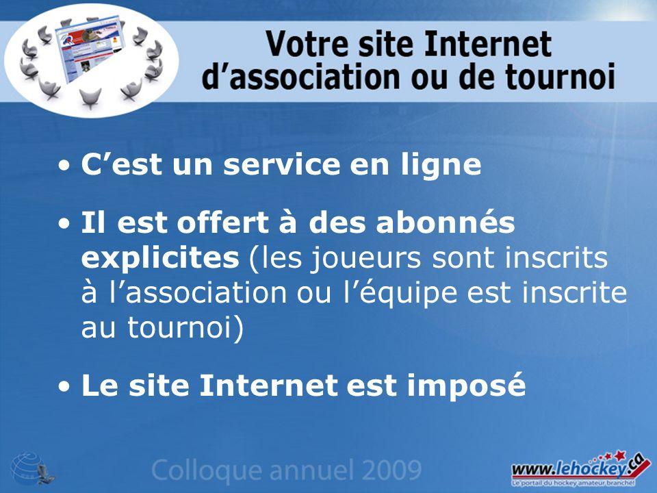 Cest un service en ligne Il est offert à des abonnés explicites (les joueurs sont inscrits à lassociation ou léquipe est inscrite au tournoi) Le site Internet est imposé
