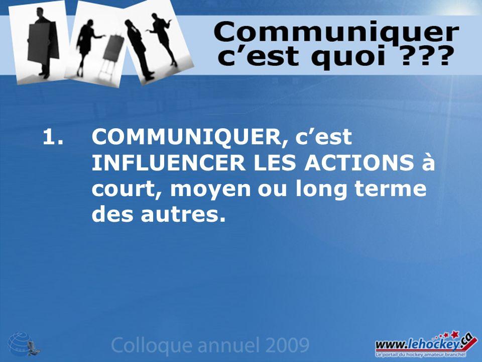 1.COMMUNIQUER, cest INFLUENCER LES ACTIONS à court, moyen ou long terme des autres.