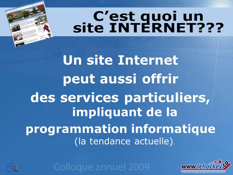 Un site Internet peut aussi offrir des services particuliers, impliquant de la programmation informatique (la tendance actuelle).