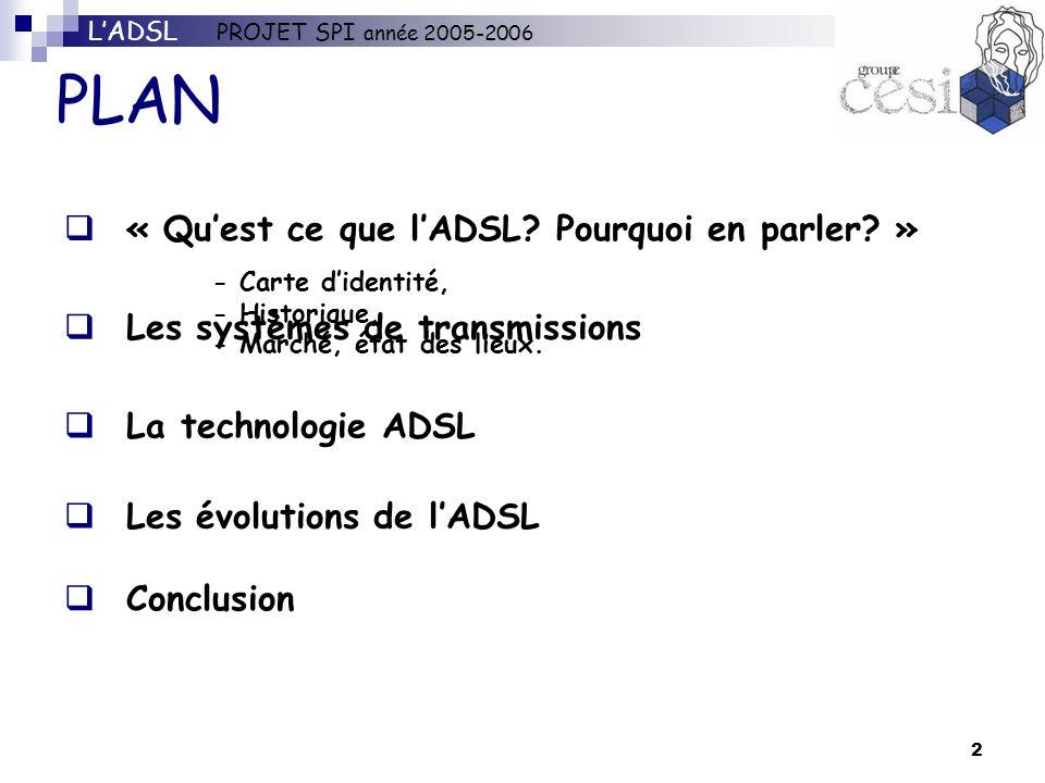 2 PLAN La technologie ADSL Les évolutions de lADSL « Quest ce que lADSL? Pourquoi en parler? » Les systèmes de transmissions Conclusion LADSL PROJET S