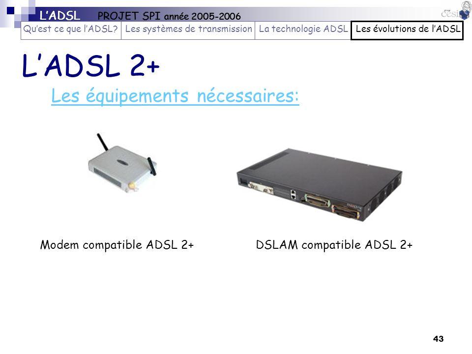 43 Les équipements nécessaires: DSLAM compatible ADSL 2+ LADSL 2+ Modem compatible ADSL 2+ LADSL PROJET SPI année 2005-2006 Quest ce que lADSL?Les sys