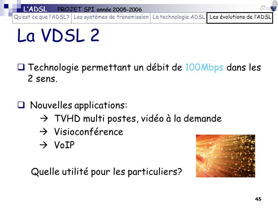 45 La VDSL 2 Technologie permettant un débit de 100Mbps dans les 2 sens. Nouvelles applications: TVHD multi postes, vidéo à la demande Visioconférence