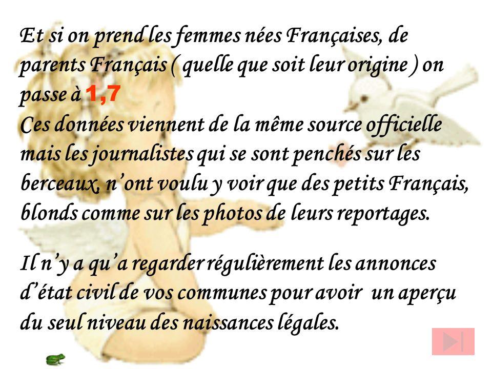 Les femmes qui accouchent en France et qui nont pas encore la nationalité française sont très fécondes. Les femmes asiatiques ont une fécondité de : 2