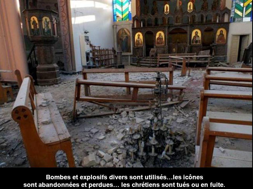 Bombes et explosifs divers sont utilisés…les icônes sont abandonnées et perdues… les chrétiens sont tués ou en fuite.