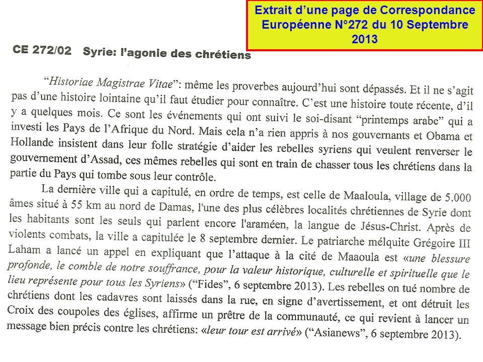 Extrait dune page de Correspondance Européenne N°272 du 10 Septembre 2013