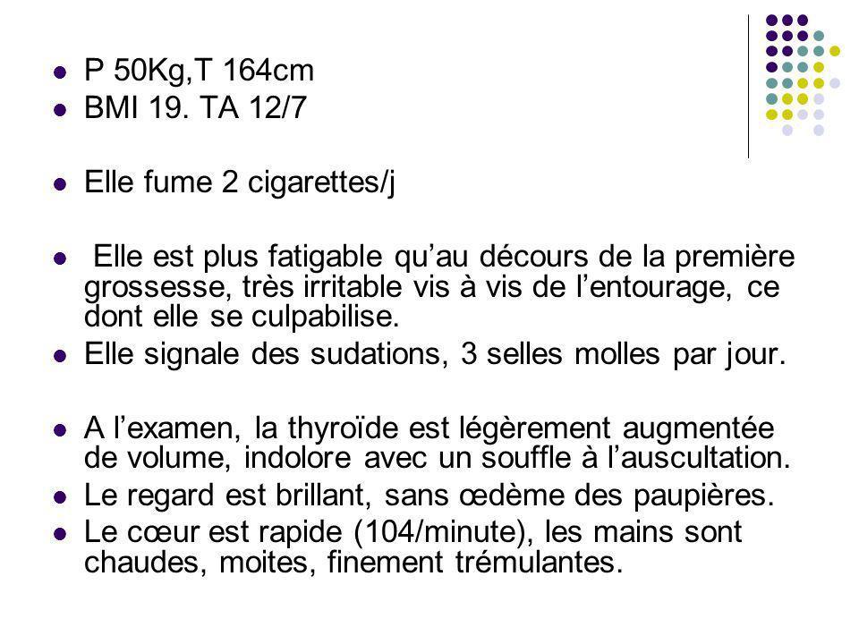 P 50Kg,T 164cm BMI 19. TA 12/7 Elle fume 2 cigarettes/j Elle est plus fatigable quau décours de la première grossesse, très irritable vis à vis de len