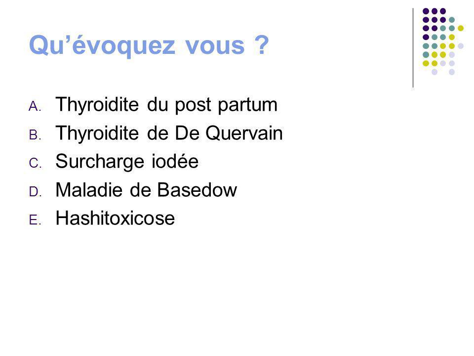 Quévoquez vous ? A. Thyroidite du post partum B. Thyroidite de De Quervain C. Surcharge iodée D. Maladie de Basedow E. Hashitoxicose