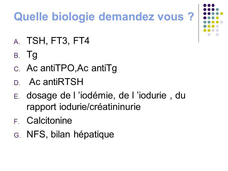 Quelle biologie demandez vous ? A. TSH, FT3, FT4 B. Tg C. Ac antiTPO,Ac antiTg D. Ac antiRTSH E. dosage de l iodémie, de l iodurie, du rapport iodurie