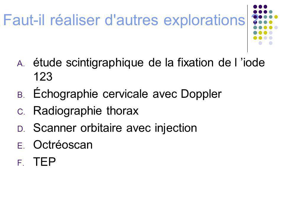 Faut-il réaliser d'autres explorations ? A. étude scintigraphique de la fixation de l iode 123 B. Échographie cervicale avec Doppler C. Radiographie t