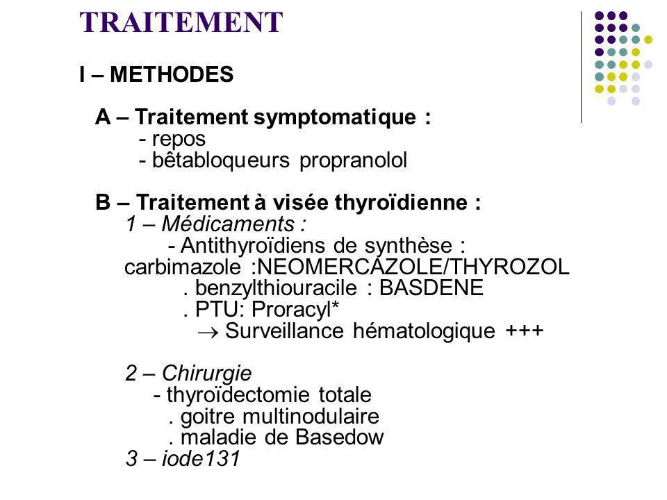 TRAITEMENT I – METHODES A – Traitement symptomatique : - repos - bêtabloqueurs propranolol B – Traitement à visée thyroïdienne : 1 – Médicaments : - A