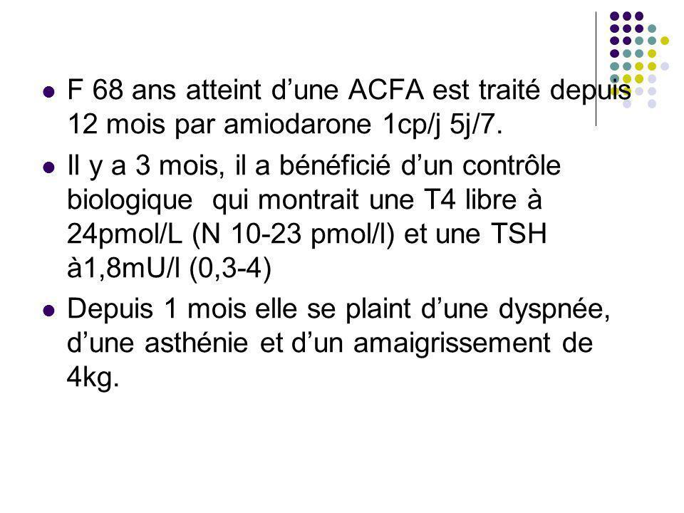 F 68 ans atteint dune ACFA est traité depuis 12 mois par amiodarone 1cp/j 5j/7. Il y a 3 mois, il a bénéficié dun contrôle biologique qui montrait une