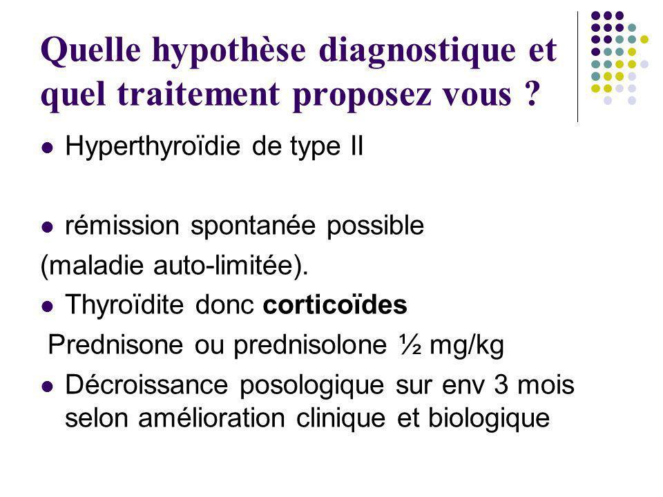Quelle hypothèse diagnostique et quel traitement proposez vous ? Hyperthyroïdie de type II rémission spontanée possible (maladie auto-limitée). Thyroï