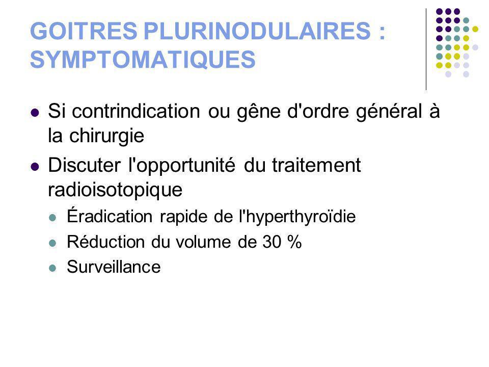 GOITRES PLURINODULAIRES : SYMPTOMATIQUES Si contrindication ou gêne d'ordre général à la chirurgie Discuter l'opportunité du traitement radioisotopiqu
