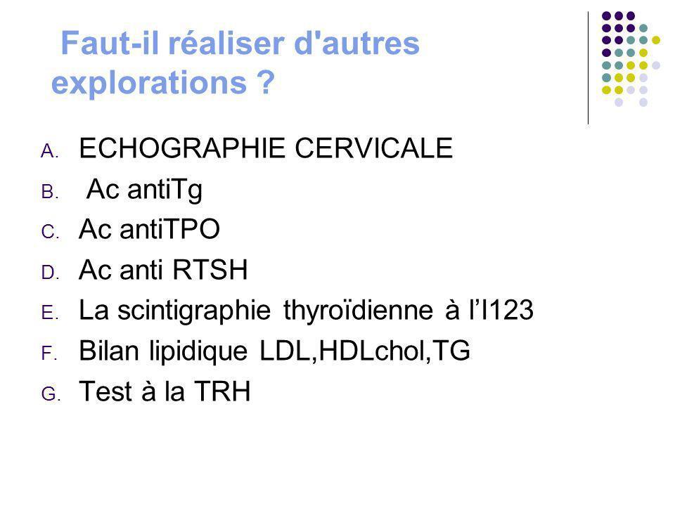 Faut-il réaliser d'autres explorations ? A. ECHOGRAPHIE CERVICALE B. Ac antiTg C. Ac antiTPO D. Ac anti RTSH E. La scintigraphie thyroïdienne à lI123