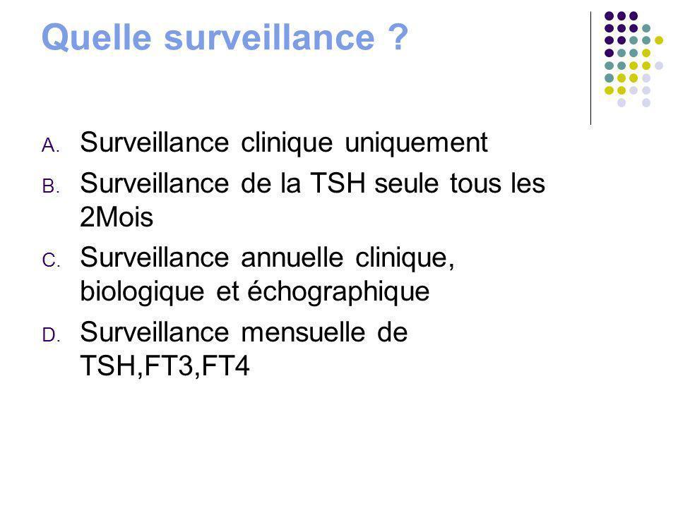 Quelle surveillance ? A. Surveillance clinique uniquement B. Surveillance de la TSH seule tous les 2Mois C. Surveillance annuelle clinique, biologique
