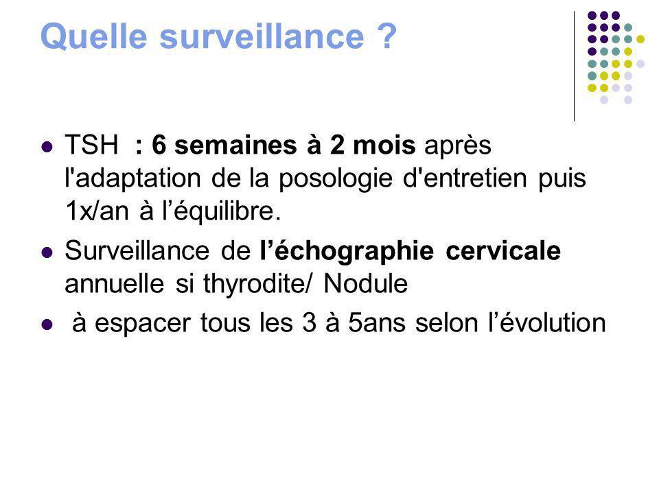 Quelle surveillance ? TSH : 6 semaines à 2 mois après l'adaptation de la posologie d'entretien puis 1x/an à léquilibre. Surveillance de léchographie c