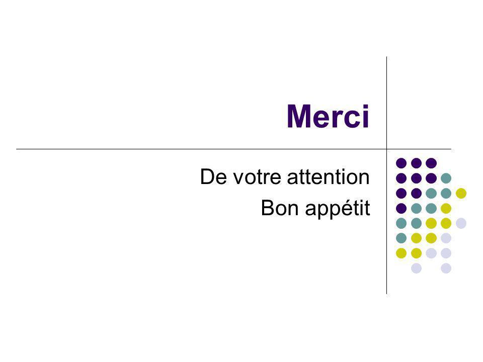 Merci De votre attention Bon appétit