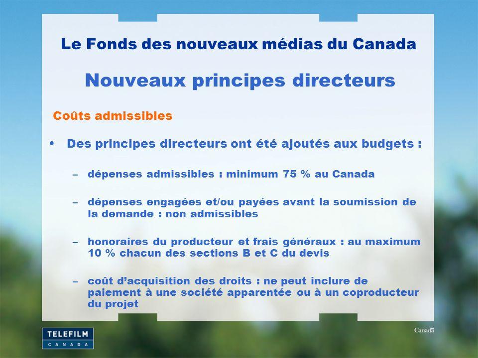 Des principes directeurs ont été ajoutés aux budgets : –dépenses admissibles : minimum 75 % au Canada –dépenses engagées et/ou payées avant la soumission de la demande : non admissibles –honoraires du producteur et frais généraux : au maximum 10 % chacun des sections B et C du devis –coût dacquisition des droits : ne peut inclure de paiement à une société apparentée ou à un coproducteur du projet Le Fonds des nouveaux médias du Canada Nouveaux principes directeurs Coûts admissibles