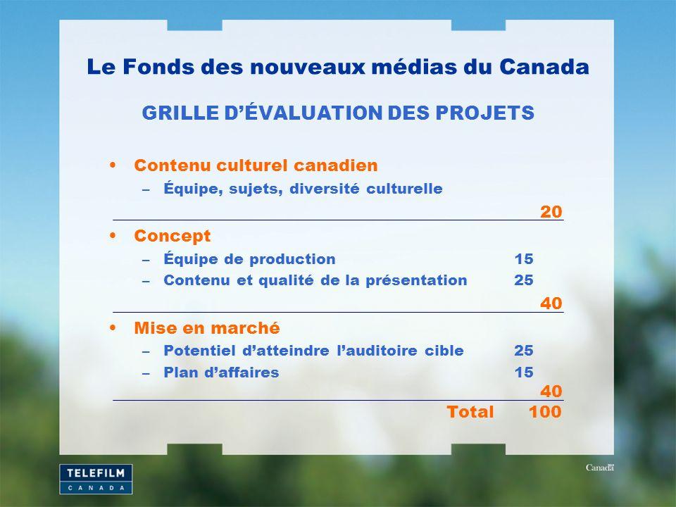 Le Fonds des nouveaux médias du Canada GRILLE DÉVALUATION DES PROJETS Contenu culturel canadien –Équipe, sujets, diversité culturelle 20 Concept –Équi