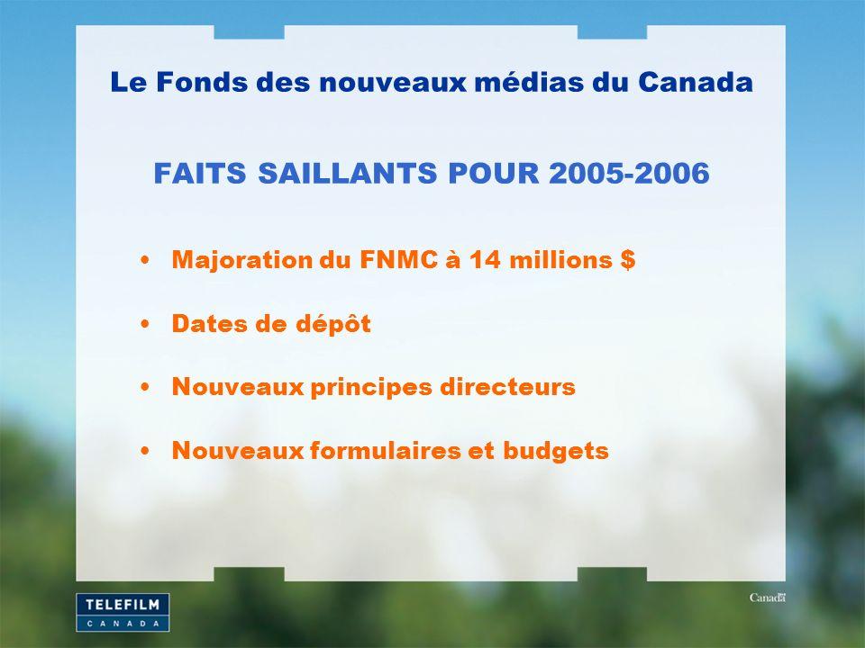 Majoration du FNMC à 14 millions $ Dates de dépôt Nouveaux principes directeurs Nouveaux formulaires et budgets Le Fonds des nouveaux médias du Canada FAITS SAILLANTS POUR 2005-2006