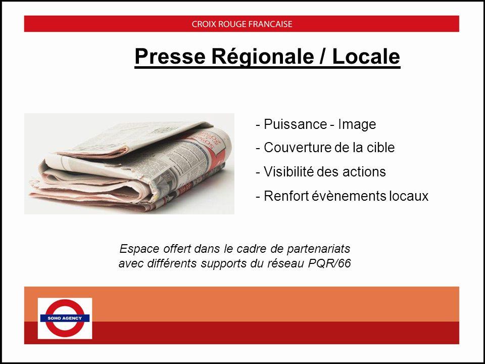 - Répétition Espace offert dans le cadre de partenariats avec des radios locales - Générer du trafic lors des opérations locales - Notoriété des évènements Radio Régionales / Locales