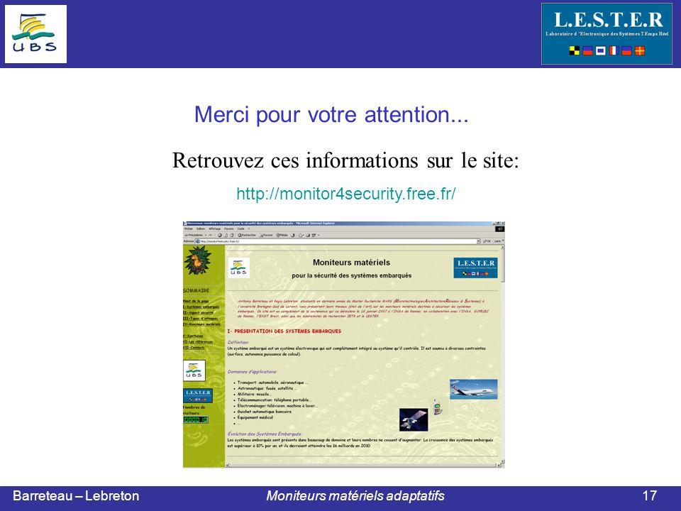 Barreteau – Lebreton Moniteurs matériels adaptatifs17 Merci pour votre attention...