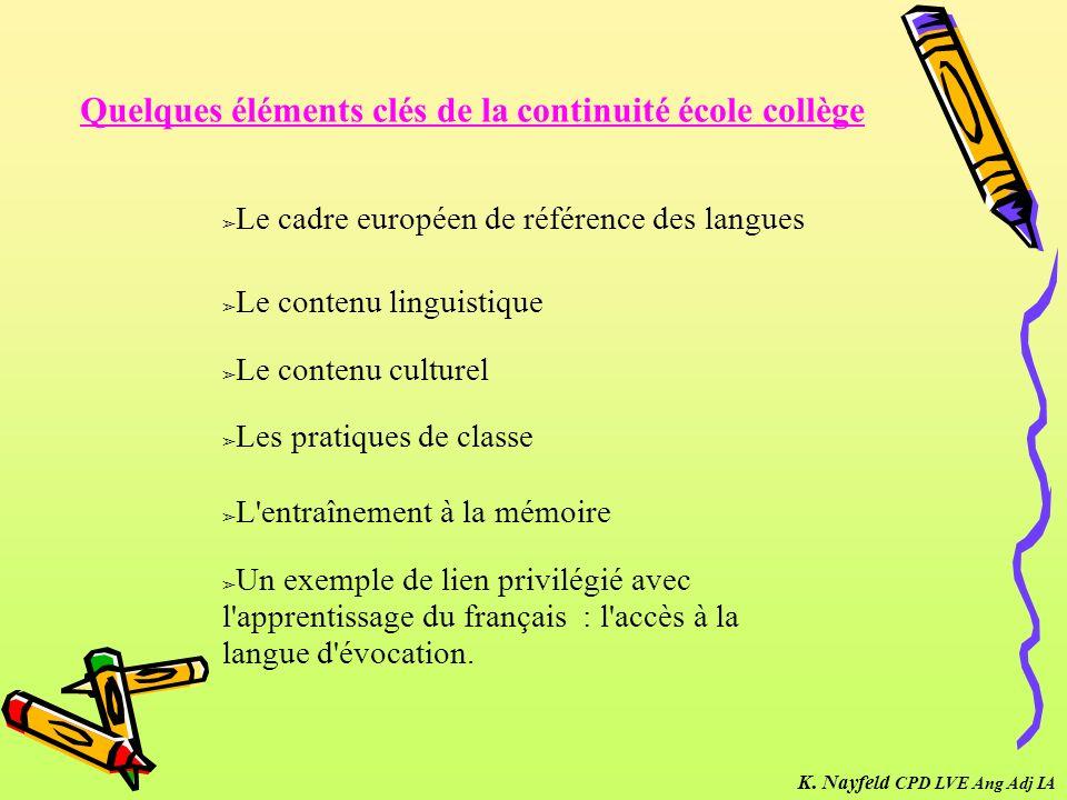Le cadre européen de référence des langues Le contenu linguistique Le contenu culturel Les pratiques de classe L'entraînement à la mémoire Quelques él