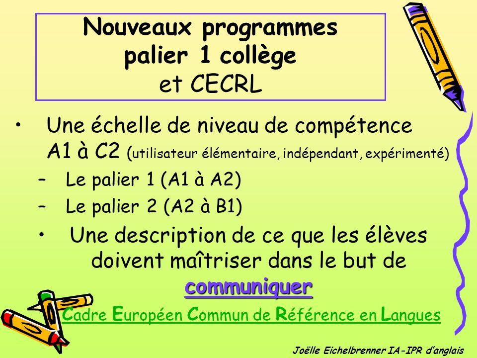 Nouveaux programmes palier 1 collège et CECRL Une échelle de niveau de compétence A1 à C2 ( utilisateur élémentaire, indépendant, expérimenté) –Le pal
