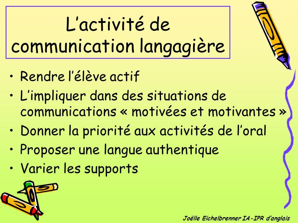 Lactivité de communication langagière Rendre lélève actif Limpliquer dans des situations de communications « motivées et motivantes » Donner la priori