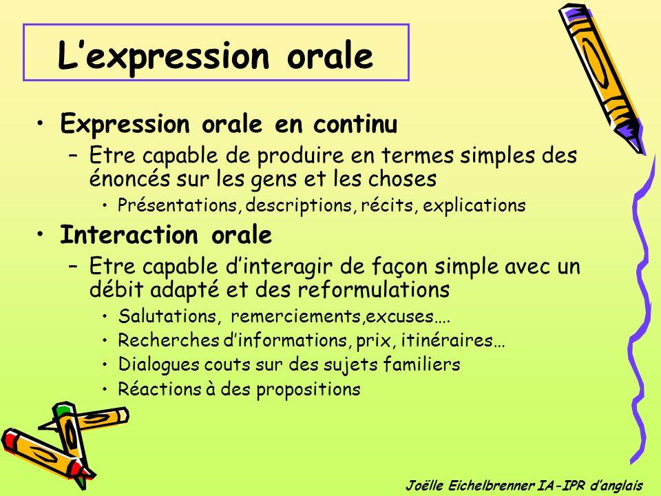 Expression orale en continu –Etre capable de produire en termes simples des énoncés sur les gens et les choses Présentations, descriptions, récits, ex