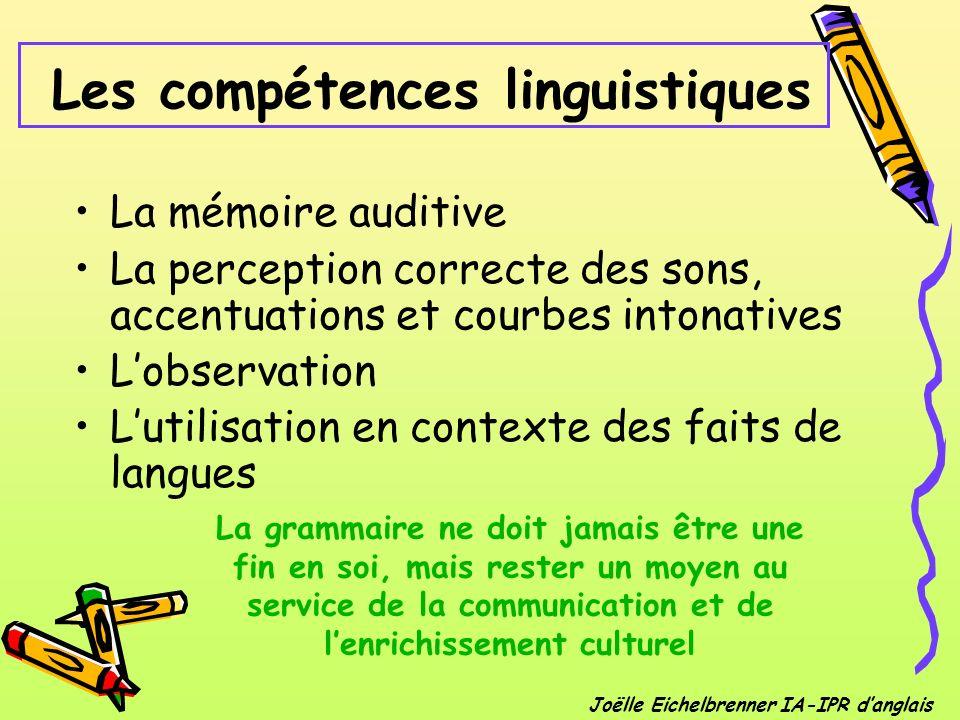 Les compétences linguistiques La mémoire auditive La perception correcte des sons, accentuations et courbes intonatives Lobservation Lutilisation en c