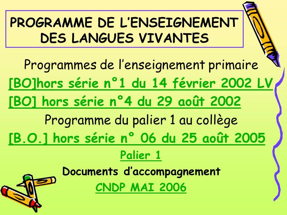 PROGRAMME DE LENSEIGNEMENT DES LANGUES VIVANTES Programmes de lenseignement primaire [BO]hors série n°1 du 14 février 2002 LV [BO] hors série n°4 du 2