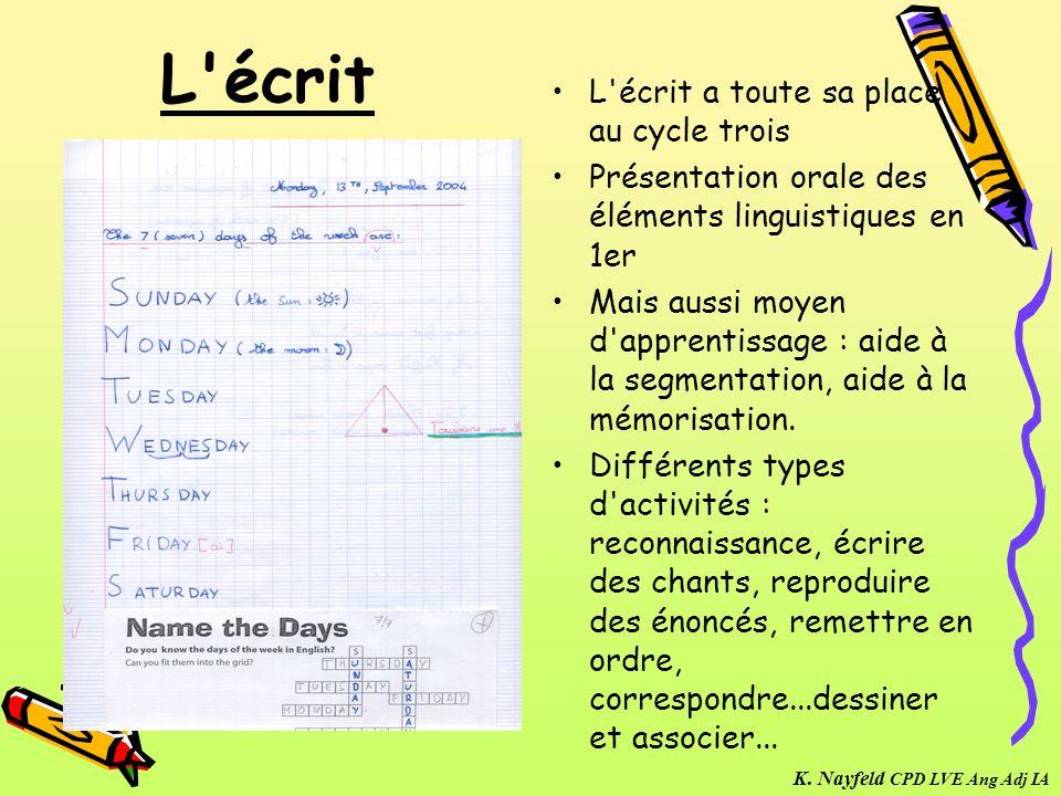 L'écrit L'écrit a toute sa place au cycle trois Présentation orale des éléments linguistiques en 1er Mais aussi moyen d'apprentissage : aide à la segm