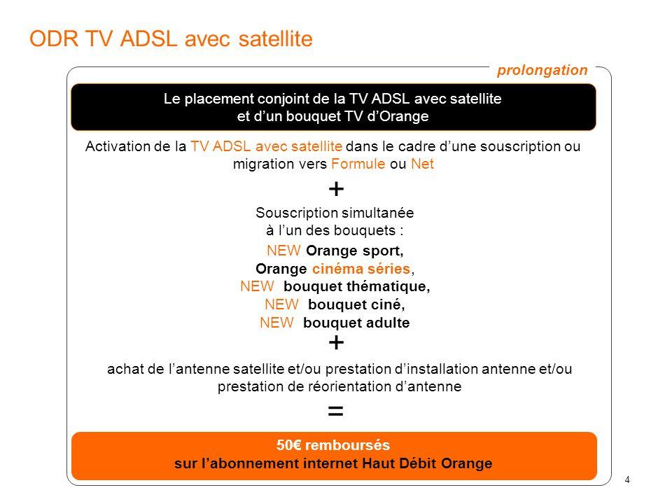 5 Recommandation : orientation de lantenne - la TV dOrange est disponible sur les 3 satellites : Astra, Eutelsat HB 13°E, Eutelsat AB3 5°W - Orange conseille aux nouveaux clients dorienter leur antenne satellite vers Astra et Eutelsat HB car les bouquets de la TV dOrange sont plus riches sur ces deux satellites par rapport à AB3.