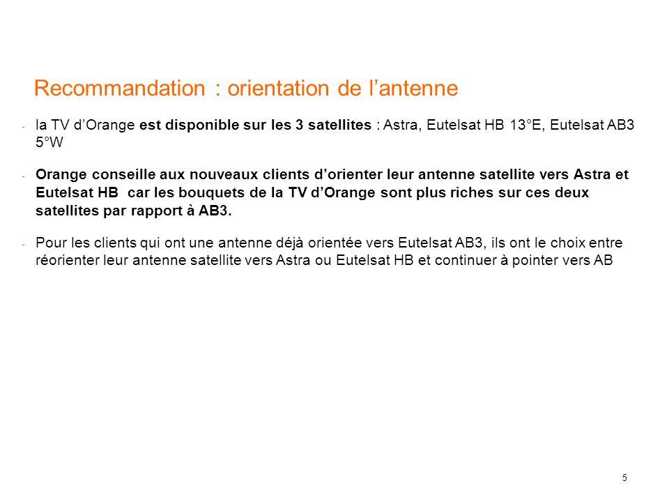 5 Recommandation : orientation de lantenne - la TV dOrange est disponible sur les 3 satellites : Astra, Eutelsat HB 13°E, Eutelsat AB3 5°W - Orange co