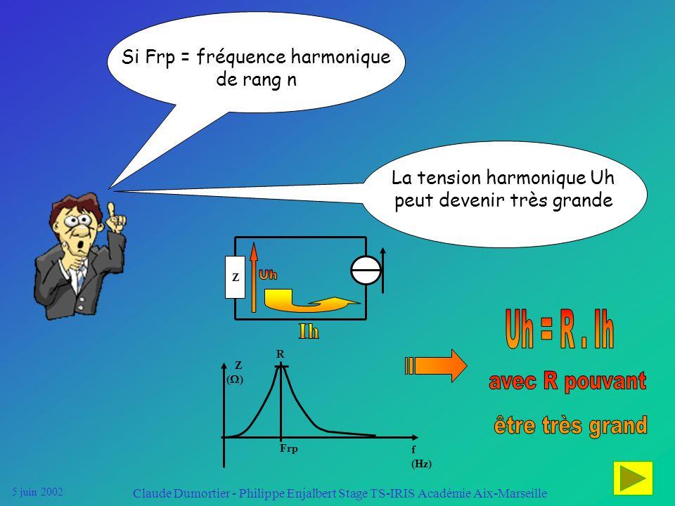 5 juin 2002 Claude Dumortier - Philippe Enjalbert Stage TS-IRIS Académie Aix-Marseille RL C IhIh En présence de condensateurs, il y a un phénomène de