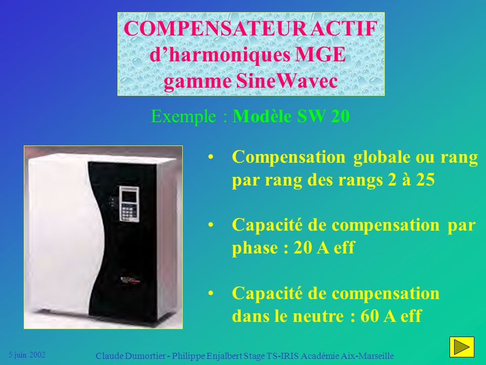 5 juin 2002 Claude Dumortier - Philippe Enjalbert Stage TS-IRIS Académie Aix-Marseille on piège les courants harmoniques dans des court-circuits pour