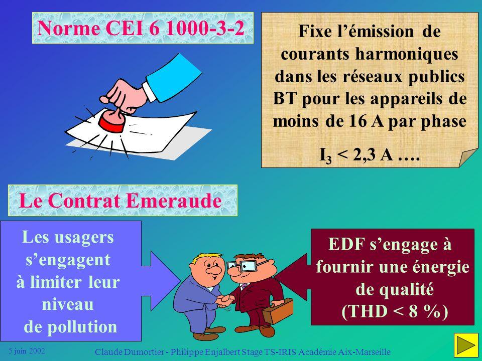 5 juin 2002 Claude Dumortier - Philippe Enjalbert Stage TS-IRIS Académie Aix-Marseille Savoir effectuer les mesures de pollution harmonique Détection