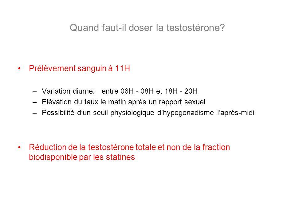 Quand faut-il doser la testostérone? Prélèvement sanguin à 11H –Variation diurne: entre 06H - 08H et 18H - 20H –Elévation du taux le matin après un ra