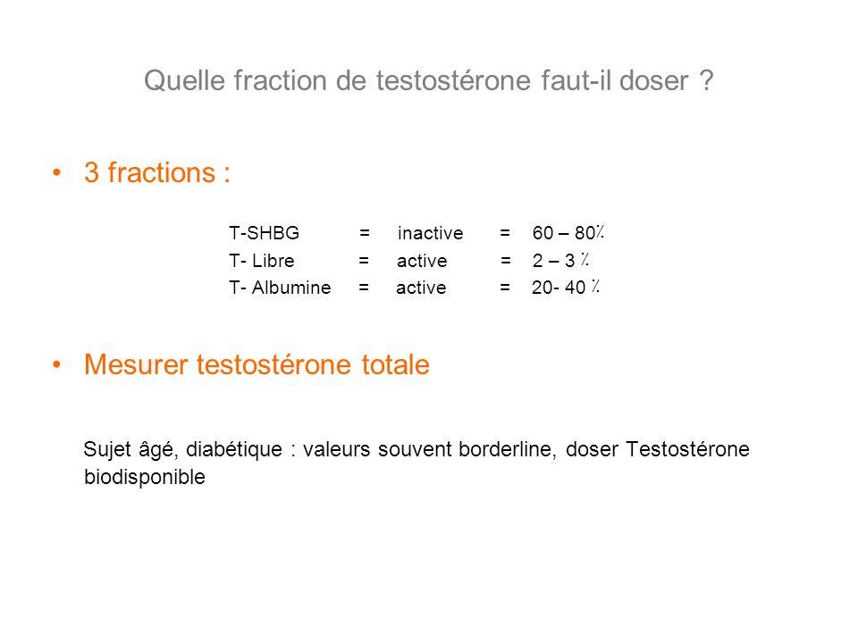 Quelle fraction de testostérone faut-il doser ? 3 fractions : T-SHBG = inactive = 60 – 80٪ T- Libre = active = 2 – 3 ٪ T- Albumine = active = 20- 40 ٪