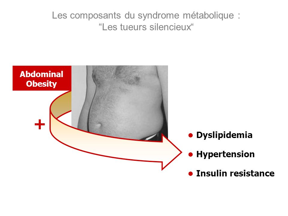 Les composants du syndrome métabolique : Les tueurs silencieux Dyslipidemia Hypertension Insulin resistance Abdominal Obesity +