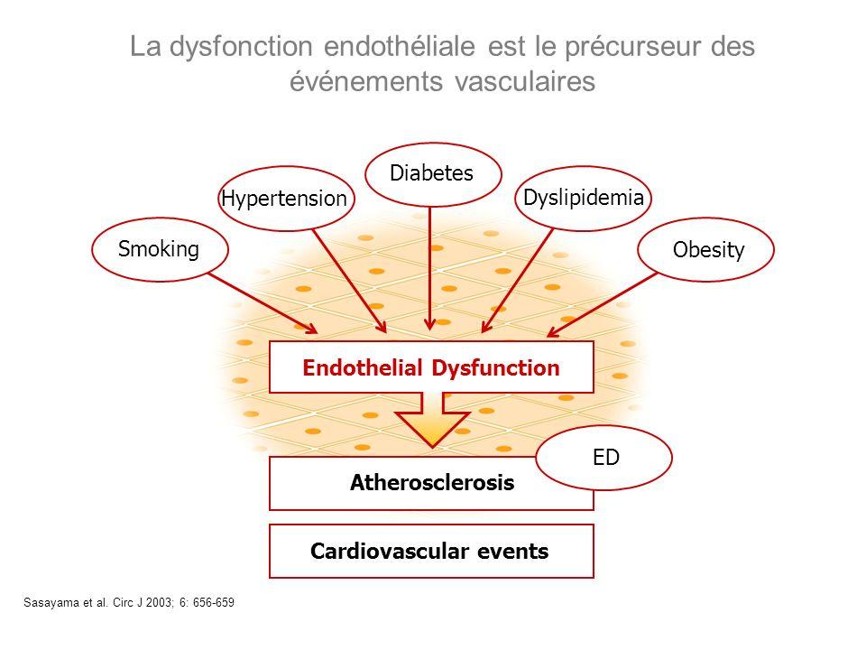 La dysfonction endothéliale est le précurseur des événements vasculaires Sasayama et al. Circ J 2003; 6: 656-659 Smoking Diabetes Dyslipidemia Hyperte