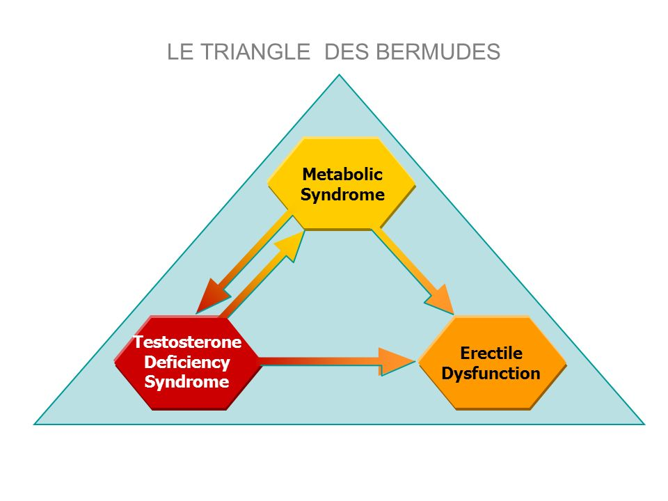 LE TRIANGLE DES BERMUDES Erectile Dysfunction Testosterone Deficiency Syndrome Metabolic Syndrome