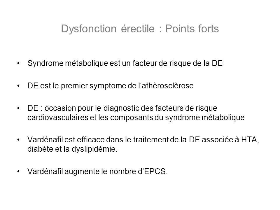 Dysfonction érectile : Points forts Syndrome métabolique est un facteur de risque de la DE DE est le premier symptome de lathèrosclèrose DE : occasion
