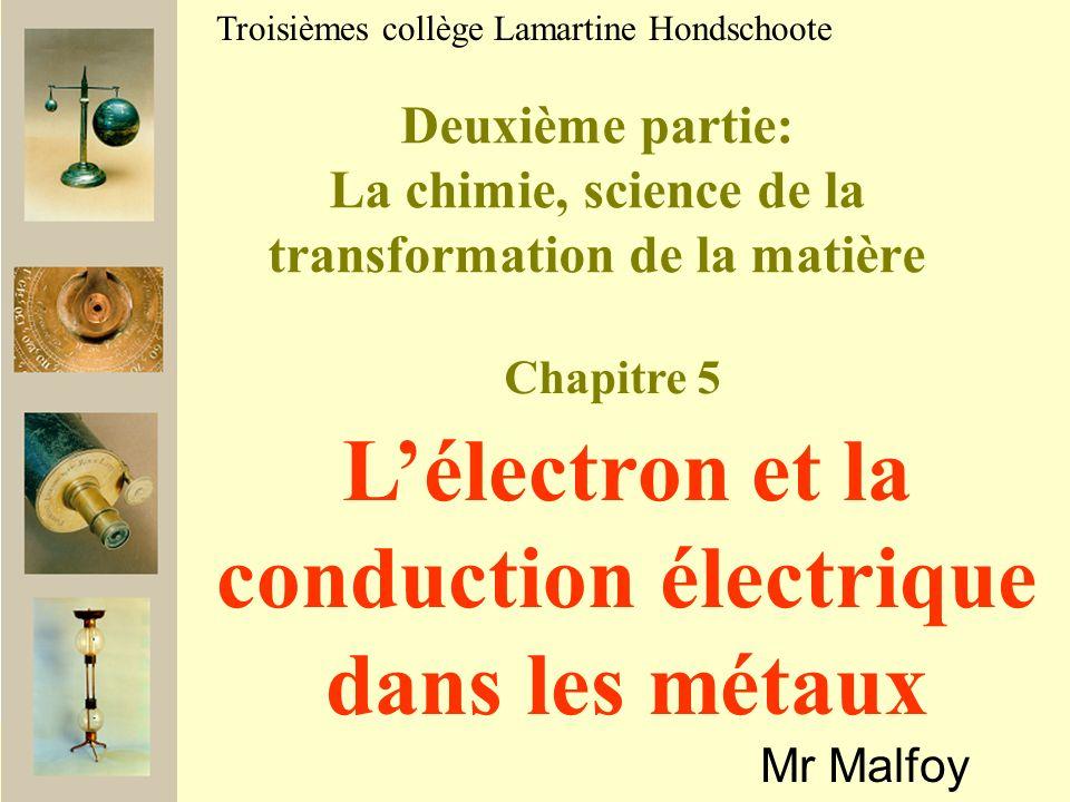 Deuxième partie: La chimie, science de la transformation de la matière Mr Malfoy Troisièmes collège Lamartine Hondschoote Lélectron et la conduction électrique dans les métaux Chapitre 5