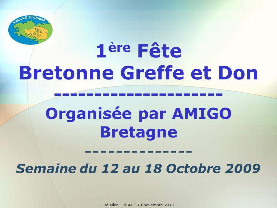 Réunion - ABM - 19 novembre 2010 Animation sur tout le parcours et dans les villes traversées en partenariat avec la Ligne de Bretagne de Cyclotourisme (FFCT) Actions dinformation du public et de sensibilisation au Don dOrganes, Don de Moelle Osseuse et de Tissus dans les 5 départements durant toute la semaine.