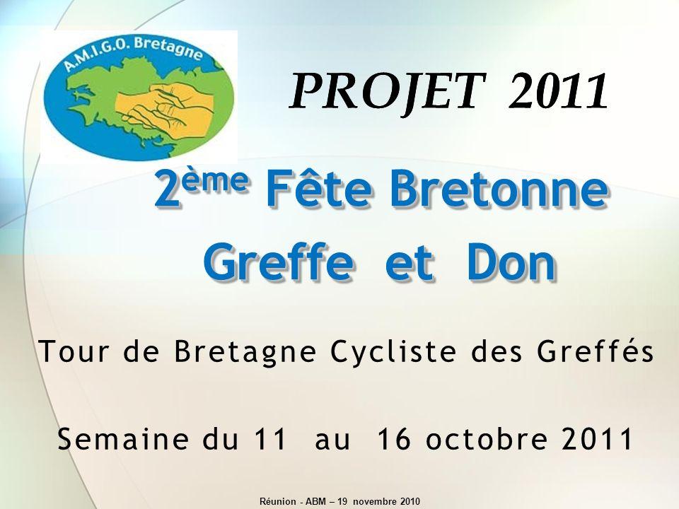 PROJET 2011PROJET 2011 Tour de Bretagne Cycliste des Greffés Semaine du 11 au 16 octobre 2011 2 ème Fête Bretonne Greffe et Don 2 ème Fête Bretonne Gr