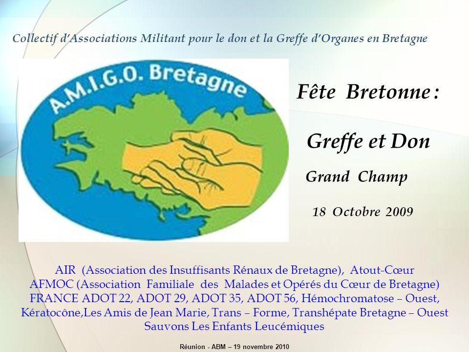 Collectif dAssociations Militant pour le don et la Greffe dOrganes en Bretagne AIR (Association des Insuffisants Rénaux de Bretagne), Atout-Cœur AFMOC