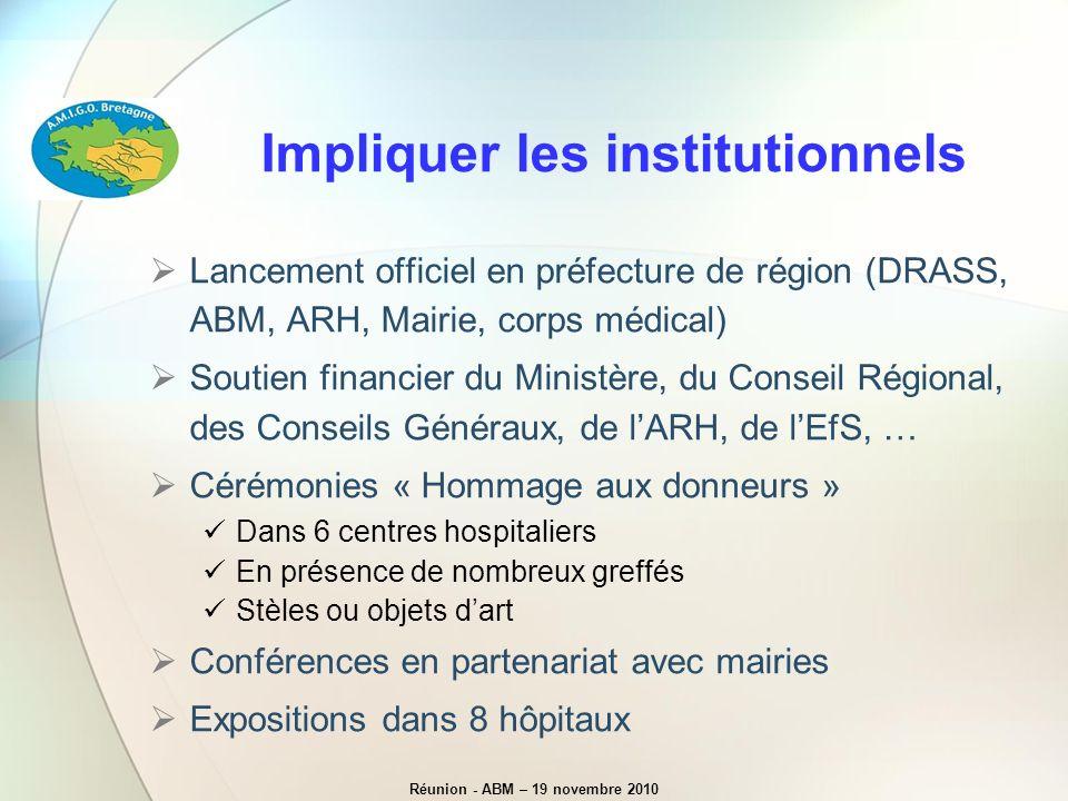 Lancement officiel en préfecture de région (DRASS, ABM, ARH, Mairie, corps médical) Soutien financier du Ministère, du Conseil Régional, des Conseils