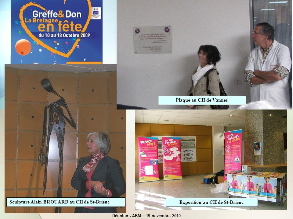 Exposition au CH de St-Brieuc Sculpture Alain BROUARD au CH de St-Brieuc Plaque au CH de Vannes Réunion - ABM – 19 novembre 2010